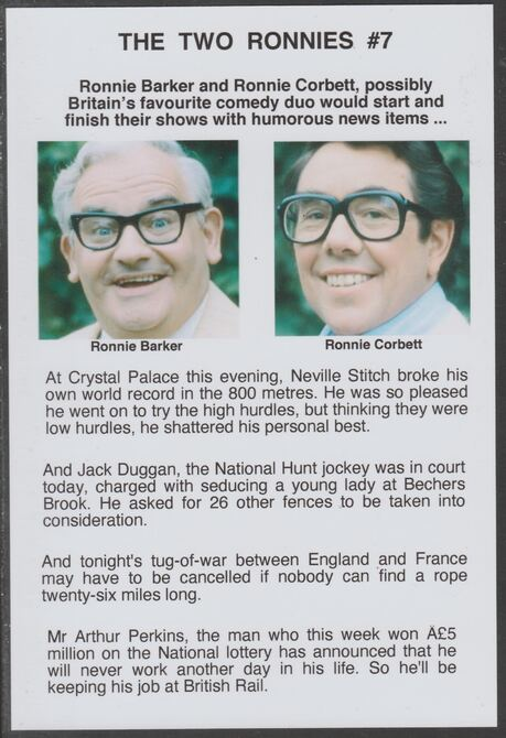Cinderella - The Two Ronnies #07 Glossy card 150 x 100 mm showing Ronnie B & Ronnie C and 4 of their humorous news items