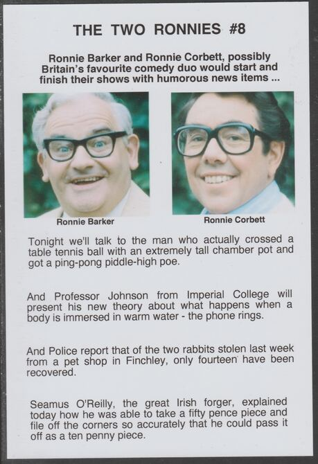 Cinderella - The Two Ronnies #08 Glossy card 150 x 100 mm showing Ronnie B & Ronnie C and 4 of their humorous news items