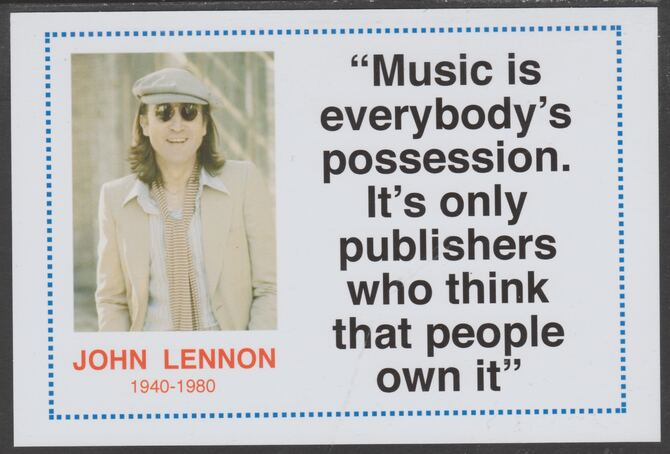 Famous Quotations - John Lennon on 6x4 in (150 x 100 mm) glossy card, unused and fine, stamps on personalities, stamps on music, stamps on rock, stamps on pops, stamps on lennon