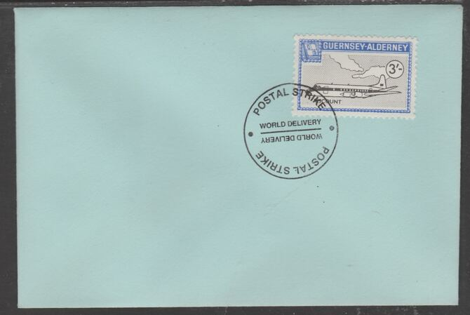 Guernsey - Alderney 1971 POSTAL STRIKE unaddressed cover bearing 3s Viscount cancelled with World Delivery postmark, stamps on aviation, stamps on strike, stamps on viscount