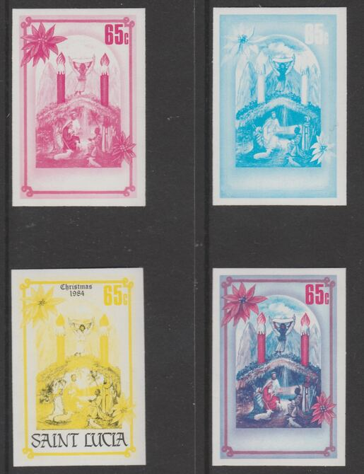 St Lucia 1984 Christmas 65p set of 4 progressive proofs comprising 2 individual colours and 2 two-colour composites (as SG 737) unmounted mint. NOTE - this item has been selected for a special offer with the price significantly reduced