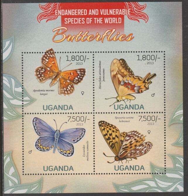 Uganda 2013 Endangered Species - Butterflies perf sheetlet containing 4 values unmounted mint., stamps on , stamps on  stamps on , stamps on  stamps on  wwf , stamps on  stamps on butterflies