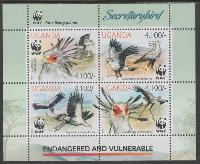 Uganda 2012 Endangered Species - Secretary Bird #1 perf sheetlet containing 4 values unmounted mint., stamps on , stamps on  stamps on , stamps on  stamps on  wwf , stamps on  stamps on birds