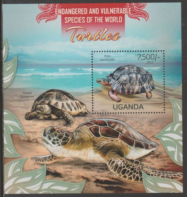 Uganda 2013 Endangered Species - Turtles perf souvenir sheet  containing 1 value unmounted mint., stamps on , stamps on  stamps on , stamps on  stamps on  wwf , stamps on  stamps on turtles
