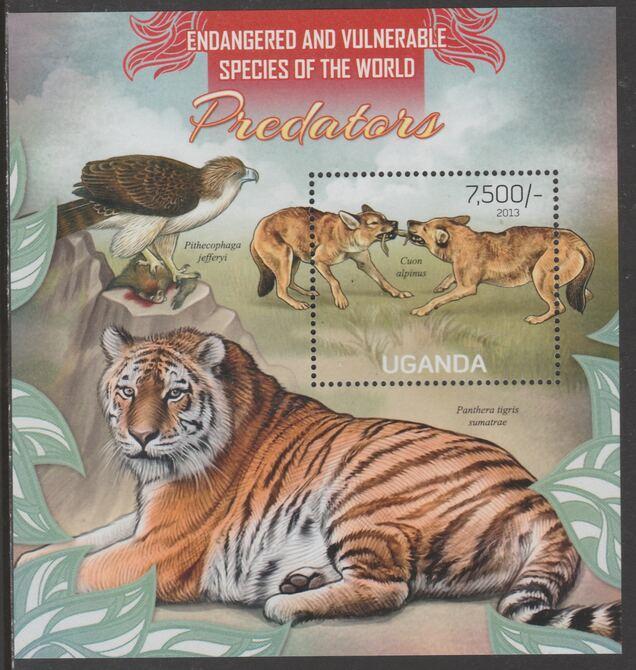 Uganda 2013 Endangered Species - Predators perf souvenir sheet  containing 1 value unmounted mint.