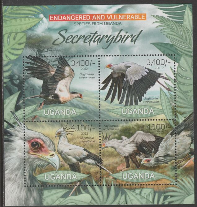 Uganda 2012 Endangered Species - Secretary Bird #2 perf sheetlet containing 4 values unmounted mint., stamps on , stamps on  stamps on , stamps on  stamps on  wwf , stamps on  stamps on birds