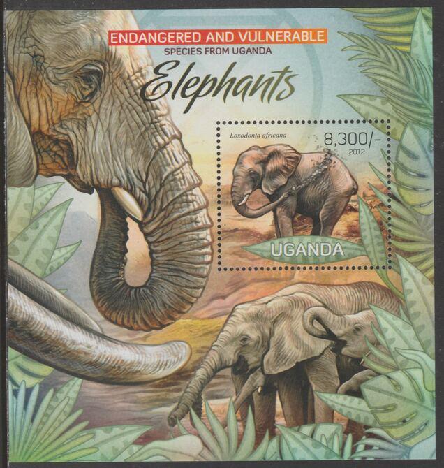 Uganda 2012 Endangered Species - Elephants #1 perf souvenir sheet  containing 1 value unmounted mint.
