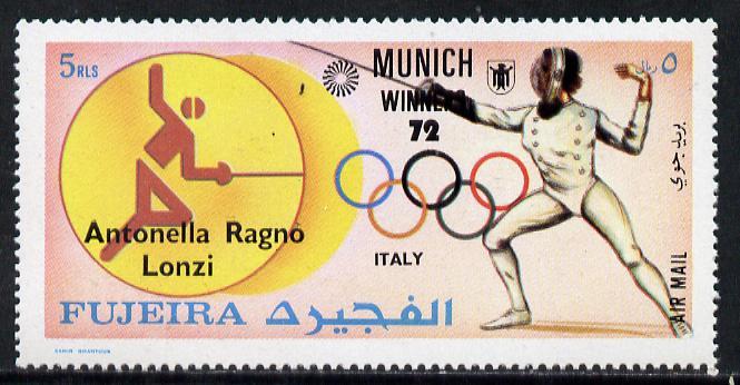 Fujeira 1972 Fencing (Antonella Lonzi) from Olympic Winners set of 25 (Mi 1432-56) unmounted mint