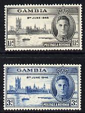Gambia 1946 KG6 Victory Commemoration set of 2 unmounted mint, SG 162.3