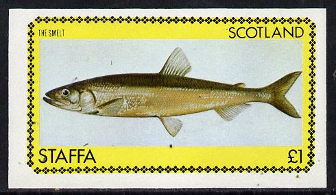 Staffa 1979 Fish #04 (Smelt) imperf  souvenir sheet (�1 value) unmounted mint