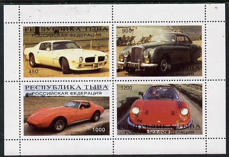 Touva 1996 Cars perf sheetlet containing complete set of 4 values unmounted mint