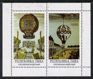 Touva 1996 Air-Balloons perf sheetlet containing set of 2 unmounted mint