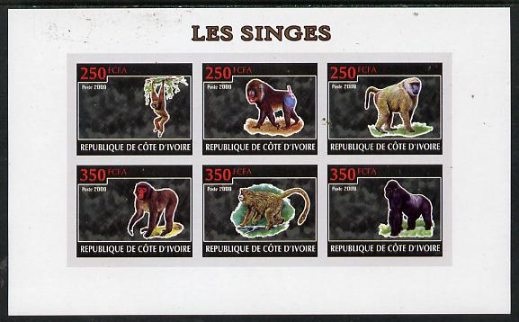 Ivory Coast 2009 Monkeys imperf sheetlet containing 6 values unmounted mint