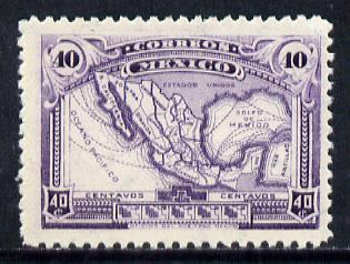 Mexico 1923 Map 40c violet (watermarked) unmounted mint SG 433 (inter-paneau gutter pairs or blocks available pro rata)