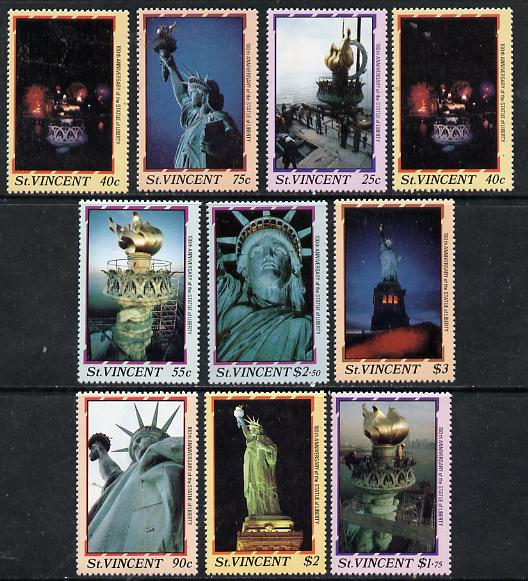 St Vincent 1986 Statue of Liberty Centenary set of 10 unmounted mint, SG 1034-43*