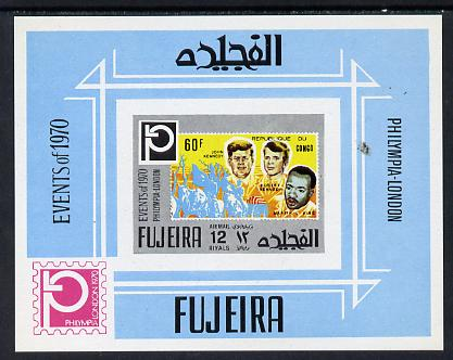 Fujeira 1972 Philympia Stamp Exhibition imperf m/sheet (Kennedy on  stamp of Congo) Mi BL 198B unmounted mint