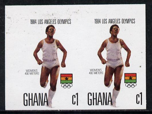 Ghana 1984 Women's 400m Race 1c imperf pair (ex Los Angeles Olympic Games set of 5) unmounted mint as SG 1104