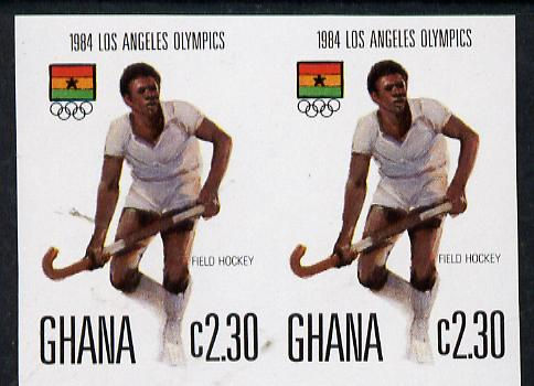 Ghana 1984 Field-Hockey 2c30 imperf pair (ex Los Angeles Olympic Games set of 5) unmounted mint as SG 1106