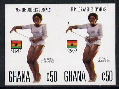 Ghana 1984 Gymnastics 50c imperf pair (ex Los Angeles Olympic Games set of 5) unmounted mint as SG 1108
