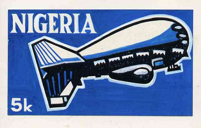 Nigeria 1979 International Radio Committee - original hand-painted artwork for 5k value (Showing Radio Airship) by Godrick N Osuji on card 7 x 4 with overlay endorsed A1