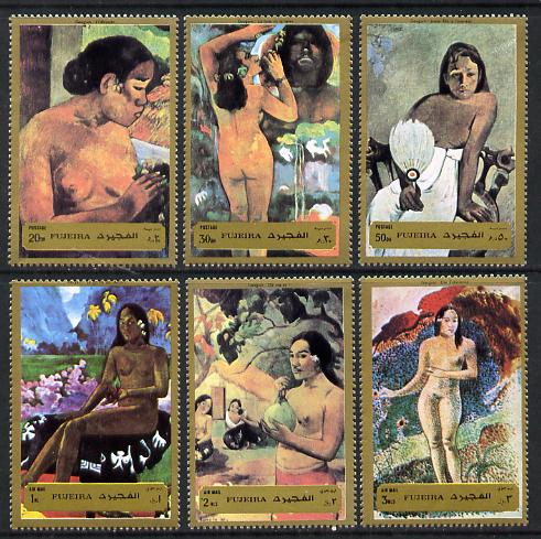 Fujeira 1972 Paintings by Gauguin (Nudes) set of 6 (Mi 1272-77A) unmounted mint