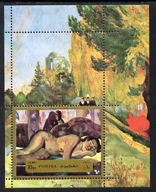 Fujeira 1972 Paintings by Gauguin (Nude) m/sheet unmounted mint (Mi BL 124A)