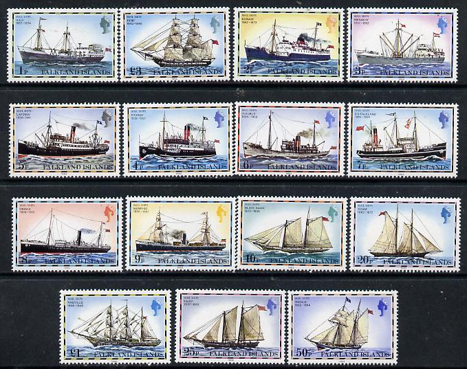 Falkland Islands 1978 Mail Ships complete definitive set of 15 values 1p to \A33 with imprint date unmounted mint, SG 331-45B