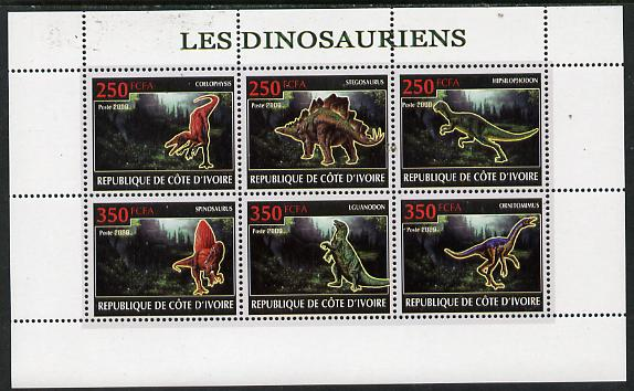 Ivory Coast 2009 Dinosaurs perf sheetlet containing 6 values unmounted mint