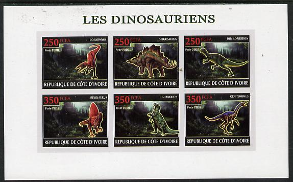Ivory Coast 2009 Dinosaurs imperf sheetlet containing 6 values unmounted mint