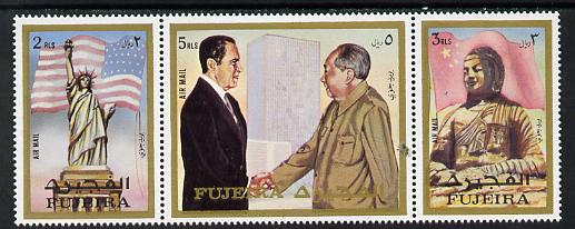 Fujeira 1972 Pres Nixon's visit to China strip of 3 unmounted mint (Mi 1099-1101A)