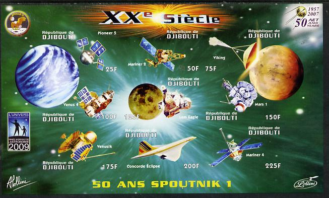 Djibouti 2009 50th Anniversary of Sputnik #01 imperf sheetlet containing 9 values unmounted mint