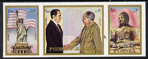 Fujeira 1972 Pres Nixon's visit to China imperf strip of 3 unmounted mint (Mi 1099-1101B)