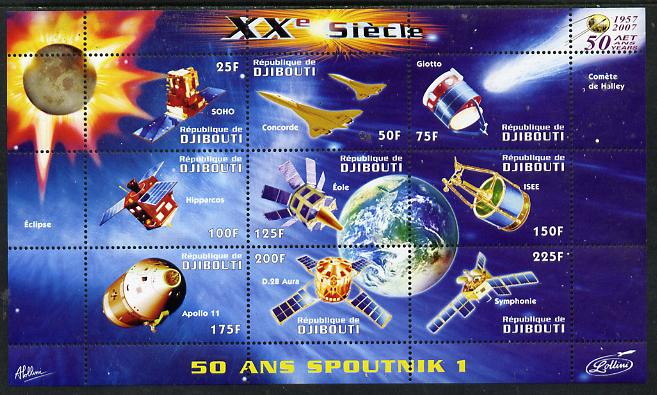 Djibouti 2009 50th Anniversary of Sputnik #02 perf sheetlet containing 9 values unmounted mint