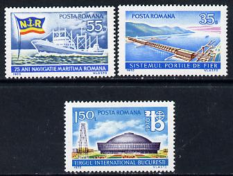 Rumania 1970 National Events set of 3 (Dam, Exhibition Hall, Freighter & Flag) unmounted mint, SG 3745-47, Mi 2864-66