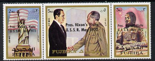 Fujeira 1972 Pres Nixon's visit to USSR opt'd strip of 3 unmounted mint (Mi 1484-86A)