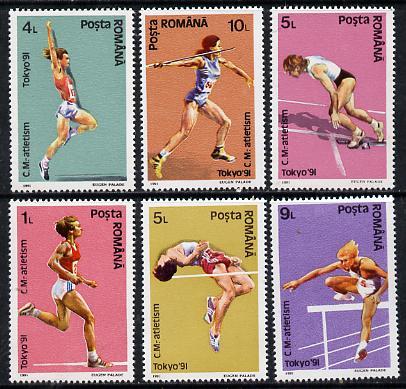Rumania 1991 World Athletics Championships set of 6 unmounted mint, Mi 4740-45*