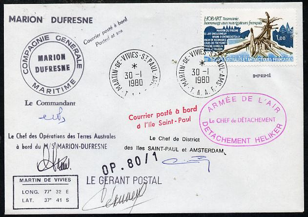 French Southern & Antarctic Territories 1980 cover bearing Navigators stamp (SG 127) with Martin de Vivies cancel, various cachets incl Posted at Sea, Compagnie Generale Maritime & Marion Dufresne and signed by 4 appropriate Officials