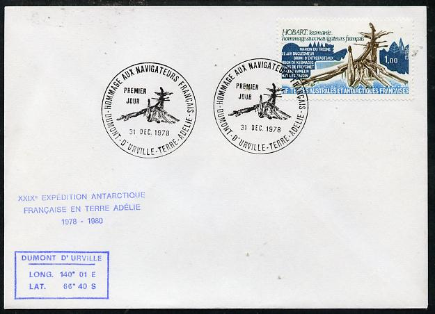 French Southern & Antarctic Territories 1978 cover bearing Navigators stamp (SG 127) with Dumont D'Urville pictorial cancel