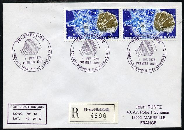French Southern & Antarctic Territories 1978 Registered cover to France bearing 2 x 2f70 Satellite Stamps (SG 120) with Telemesure Port Aux Francais pictorial cancel