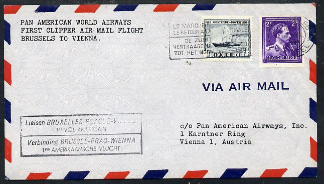 Belgium 1946 Pan American Airways First Clipper Air Mail Flight cover to Austria with special