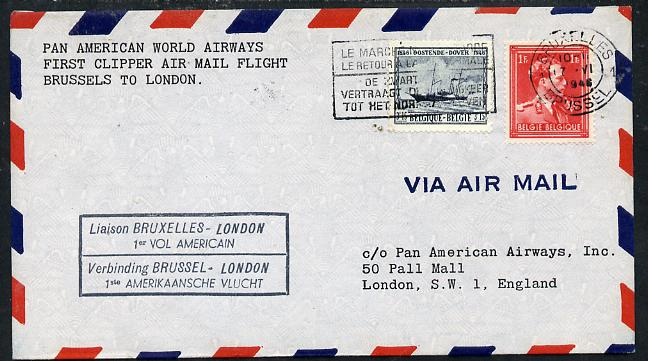 Belgium 1946 Pan American Airways First Clipper Air Mail Flight cover to England with special
