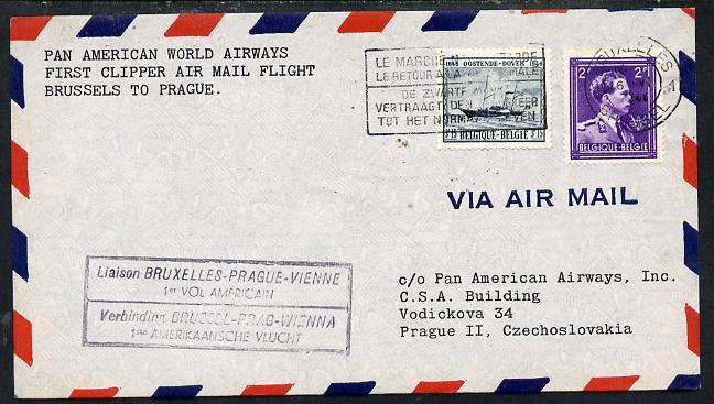 Belgium 1946 Pan American Airways First Clipper Air Mail Flight cover to Czechoslovakia with special