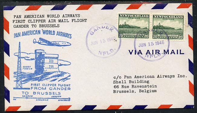 Newfoundland 1946 Pan American Airways First Clipper Air Mail Flight cover to Belgium with special 'Gander to Brussels' Illustrated Cachet and bearing 2 x 20c (Cape Race & Beacon) adhesives (SG 286)