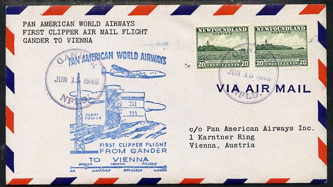 Newfoundland 1946 Pan American Airways First Clipper Air Mail Flight cover to Austria with special 'Gander to Vienna' Illustrated Cachet and bearing 2 x 20c (Cape Race & Beacon) adhesives (SG 286)