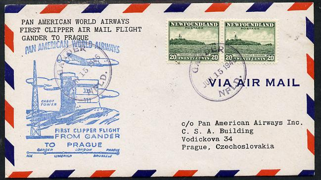 Newfoundland 1946 Pan American Airways First Clipper Air Mail Flight cover to Czechoslovakia with special 'Gander to Prague' Illustrated Cachet and bearing 2 x 20c (Cape Race & Beacon) adhesives (SG 286)