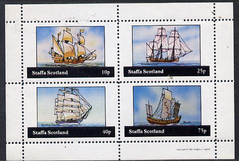 Staffa 1981 Sailing Ships (Golden Hind, Endeavour, Cutty Sark & Junk) perf  set of 4 values (10p to 75p) unmounted mint