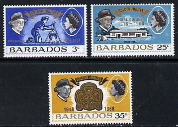 Barbados 1968 Girl Guides Anniversary set of 3 unmounted mint, SG 375-77
