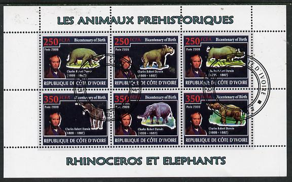 Ivory Coast 2009 Charles Darwin - Prehistoric Animals perf sheetlet containing 6 values fine cto used