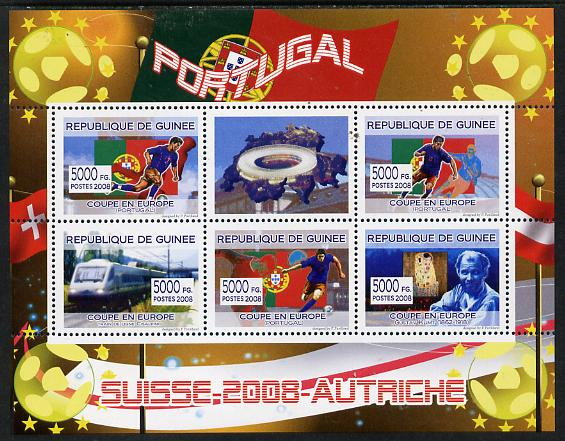 Guinea - Conakry 2008 European Football Championship - Portugal perf sheetlet containing 5 values plus label unmounted mint