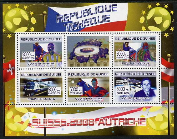 Guinea - Conakry 2008 European Football Championship - Czech Republic perf sheetlet containing 5 values plus label unmounted mint
